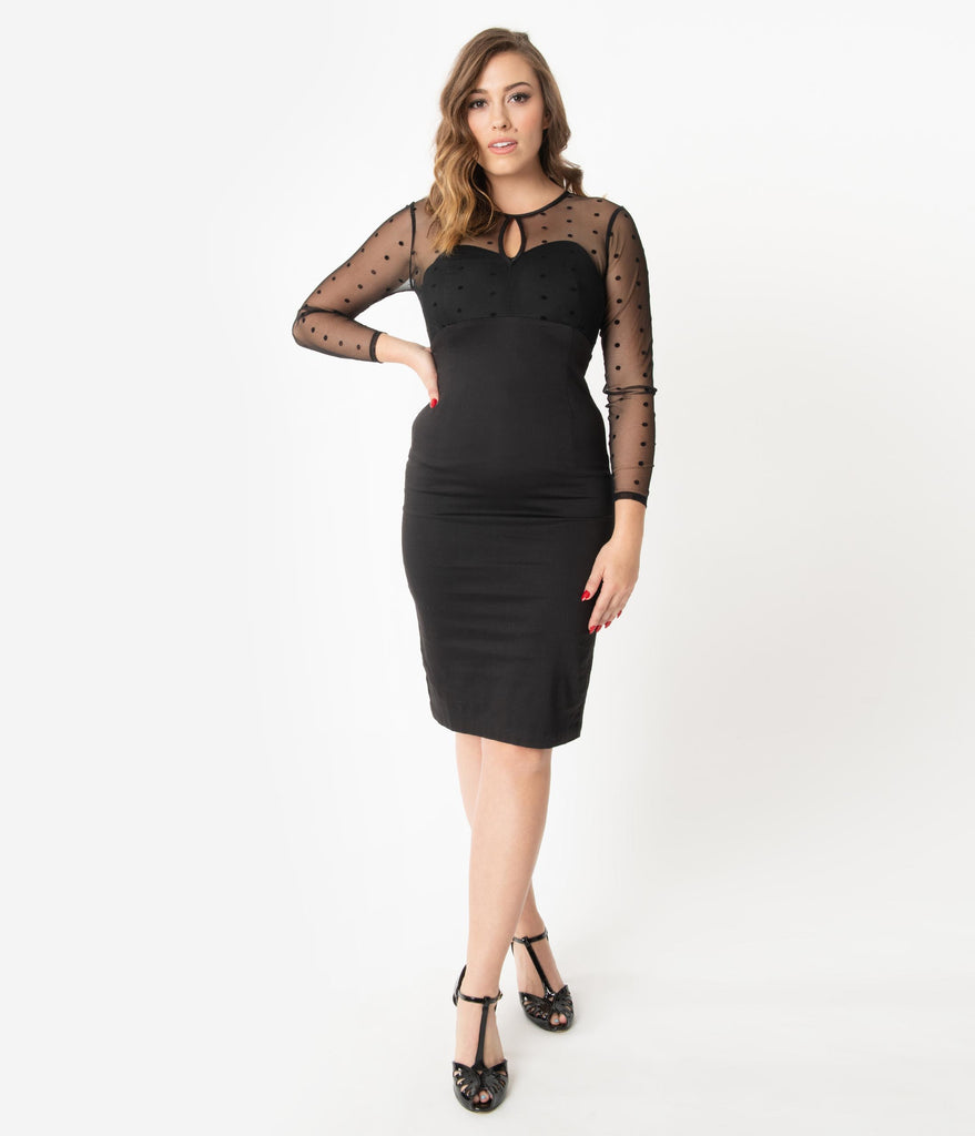 Black Keyhole Mesh Detail Katniss Wiggle Dress