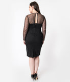 Plus Size Black Keyhole Mesh Detail Katniss Wiggle Dress
