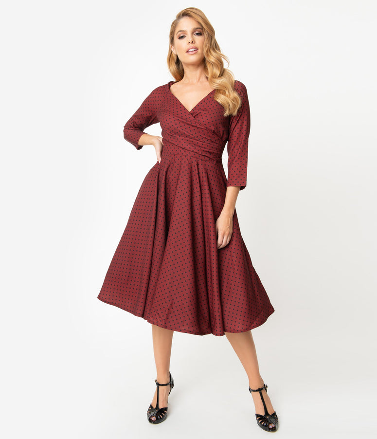 1950s Style Burgundy & Black Polka Dot Katherine Swing Dress