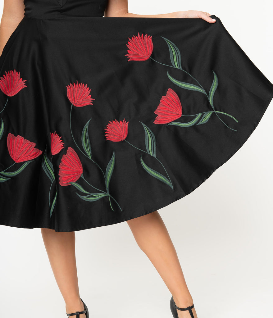 Black & Red Embroidered Floral Off Shoulder Jasmeena Cocktail Dress