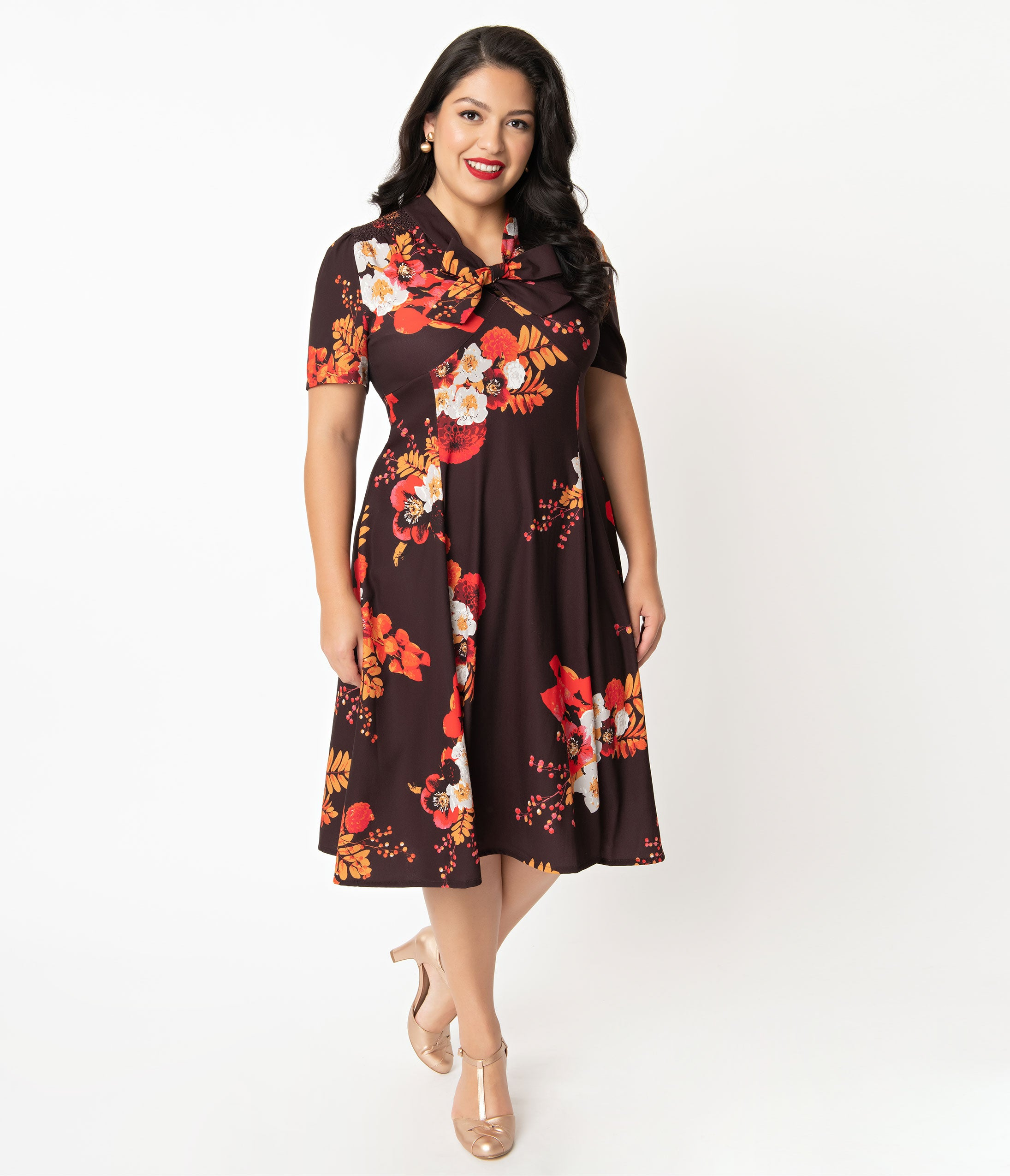 1940s Plus Size Dresses | Swing Dress, Tea Dress Plus Size 1940S Style Brown Autumn Floral Izzy Swing Dress $78.00 AT vintagedancer.com