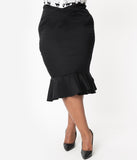 Vintage Style Plus Size Black High Waist Trumpet Ditta Wiggle Skirt