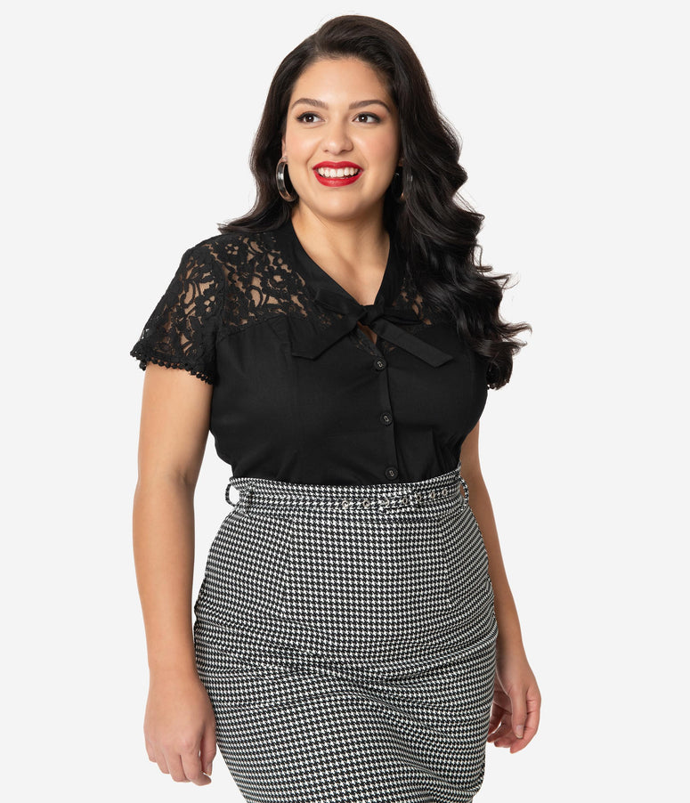 Plus Size Retro Style Black Lace Neck Tie Tammy Blouse