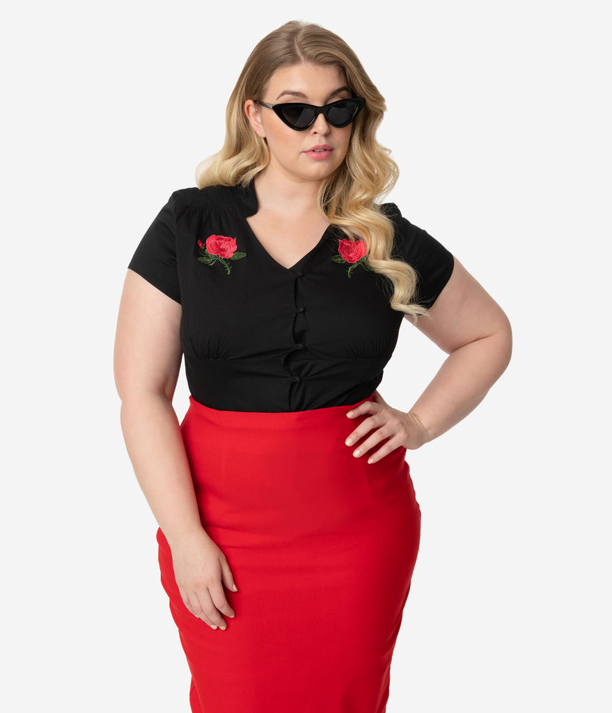 Plus Size Vintage Style Black & Red Rose Button Up Khyrstine Blouse