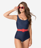Unique Vintage Navy & White Pin Dot Belted Huntington Swimsuit