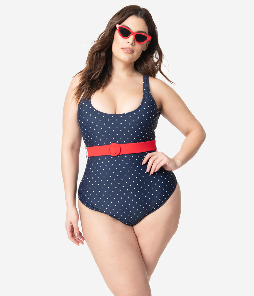 Unique Vintage Plus Size Navy & White Pin Dot Belted Huntington Swimsuit