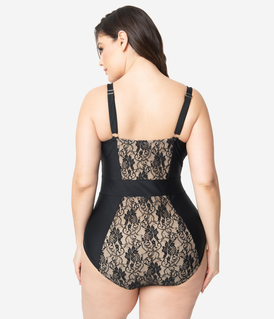Unique Vintage Plus Size Black Lace & Beige Pin-Up Clemente Swimsuit
