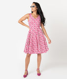 1950s Style Hot Pink Cat Print Sleeveless Swing Dress