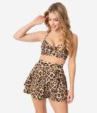 Unique Vintage 1950s Mrs. West Leopard Print Halter Swim Top