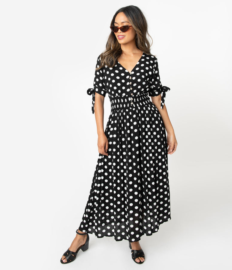 1970s Style Black & White Polka Dot Sleeved Midi Dress