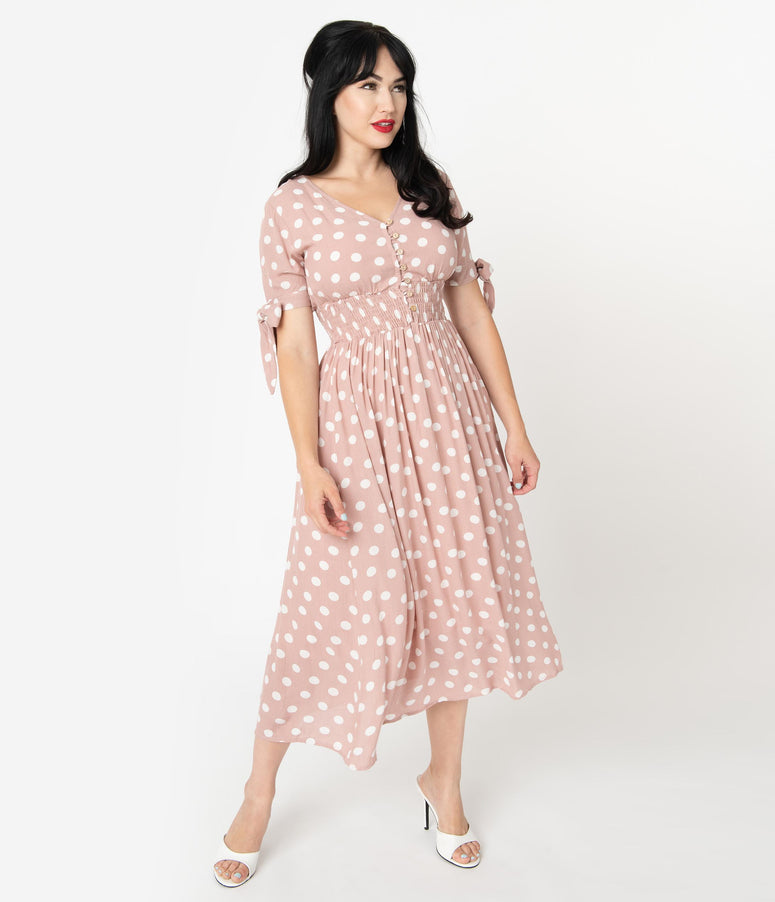 1970s Style Mauve & Ivory Polka Dot Sleeved Midi Dress