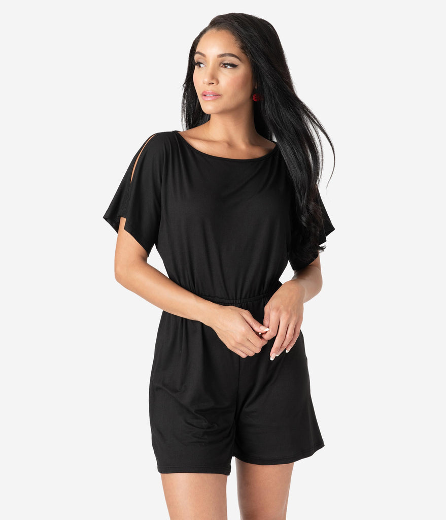 Retro Style Black Casual Knit Cold Shoulder Romper
