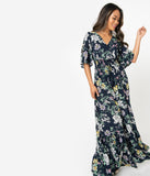 1970s Style Navy & Multicolor Floral Print Cold Shoulder Maxi Dress