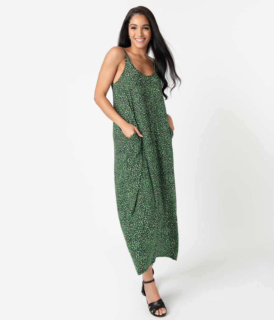 Neon Green & Purple Leopard Print Relaxed Maxi Dress