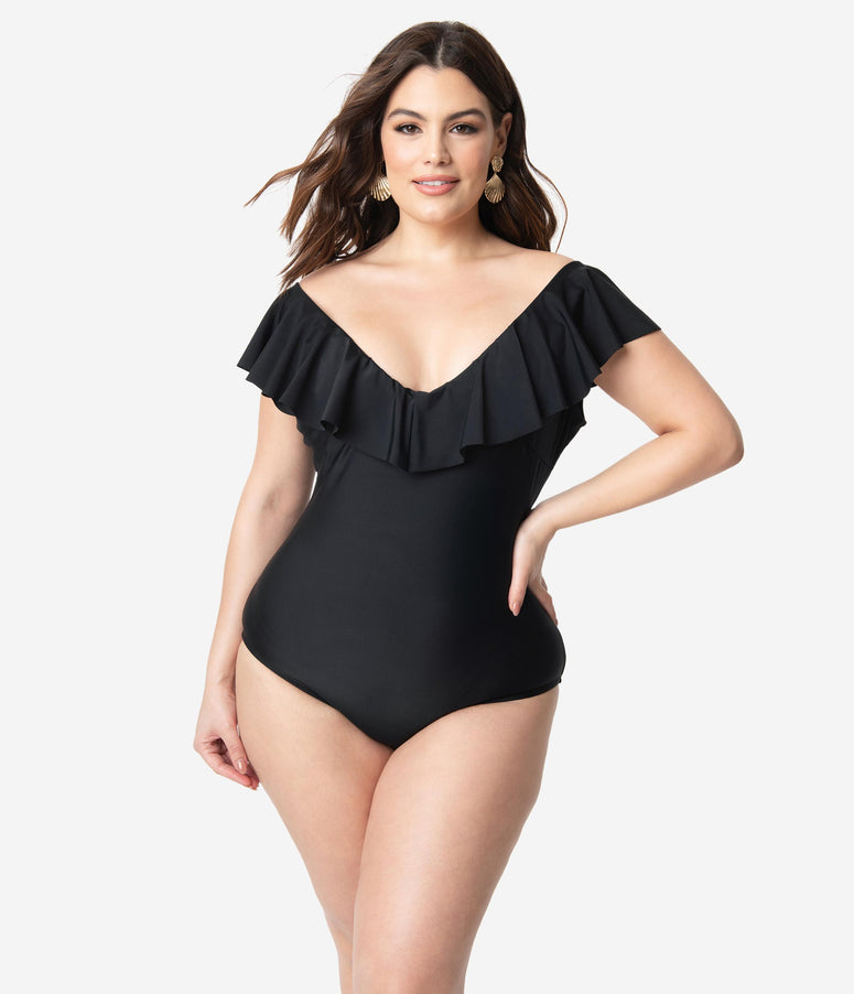 Unique Vintage Plus Size Black Ruffle Newport One Piece Swimsuit
