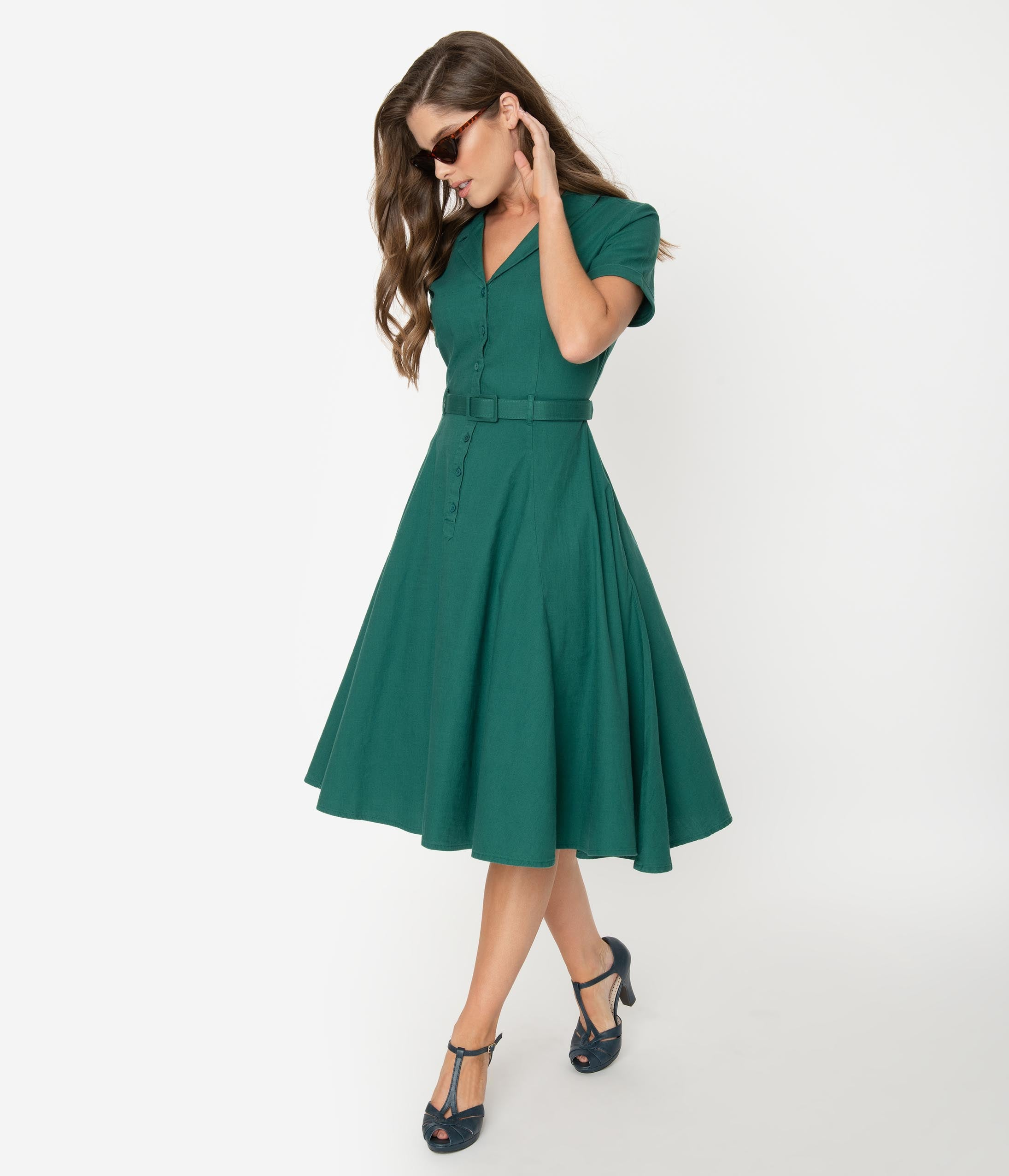 Swing Dance Dresses | Lindy Hop Dresses & Clothing Collectif 1950S Emerald Green Cotton Caterina Swing Dress $68.00 AT vintagedancer.com