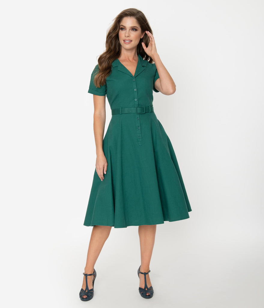Collectif 1950s Emerald Green Cotton Caterina Swing Dress