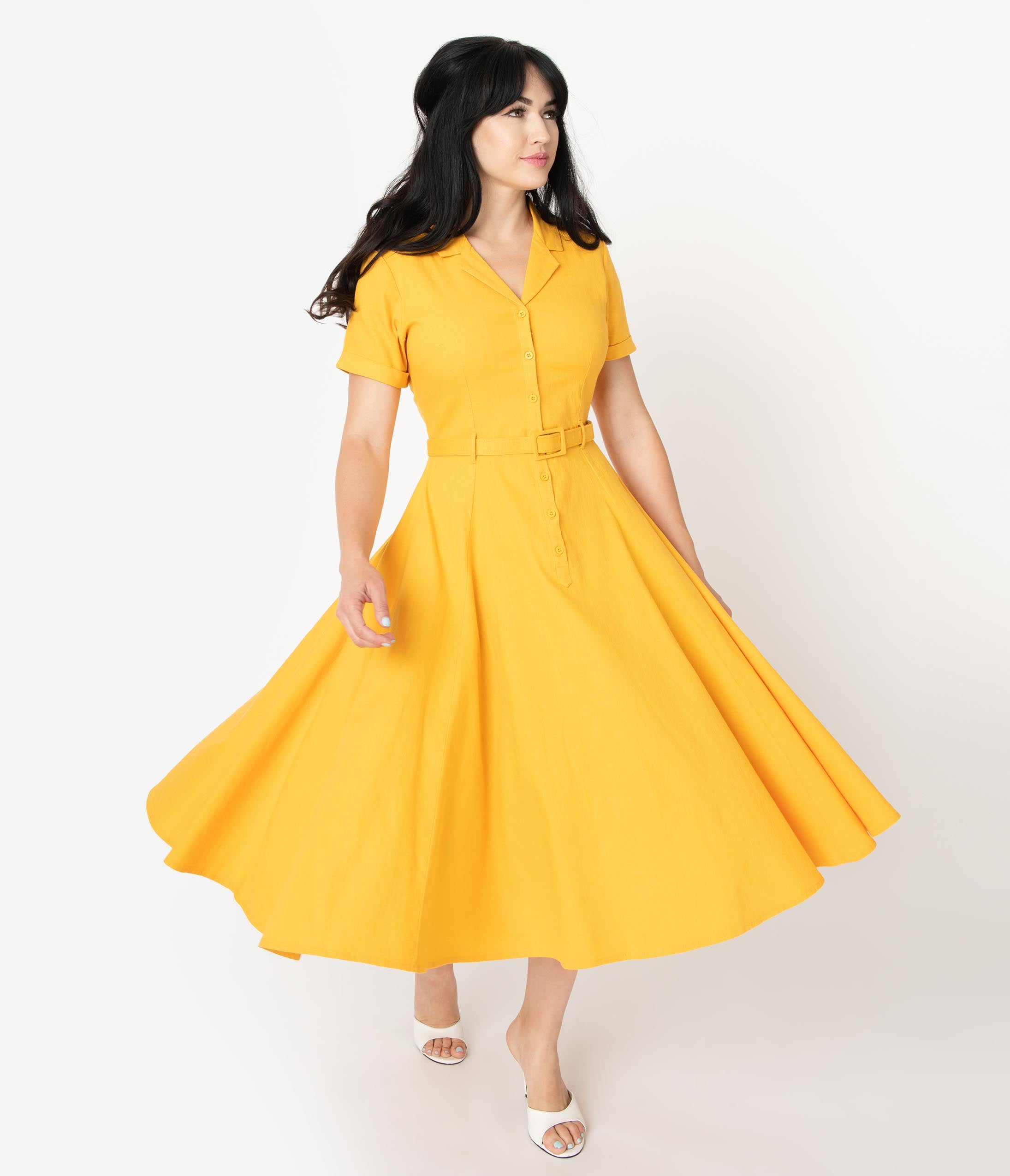 1950s Dresses, 50s Dresses | 1950s Style Dresses Collectif 1950S Mustard Yellow Cotton Caterina Swing Dress $68.00 AT vintagedancer.com