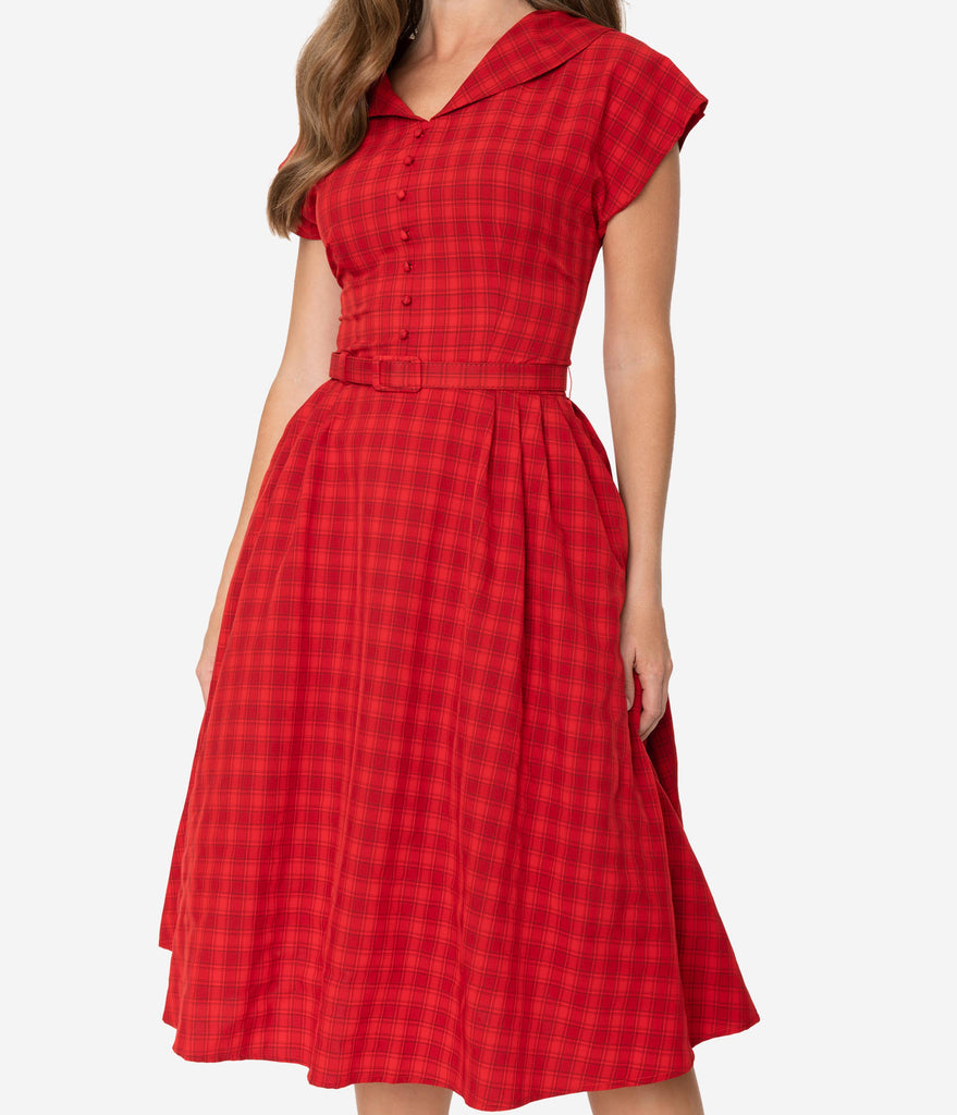 Collectif 1950s Style Red Plaid Cap Sleeve Dinah Swing Dress