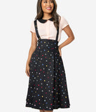 Collectif 1950s Black & Multicolor Stars Alexa Suspender Swing Skirt