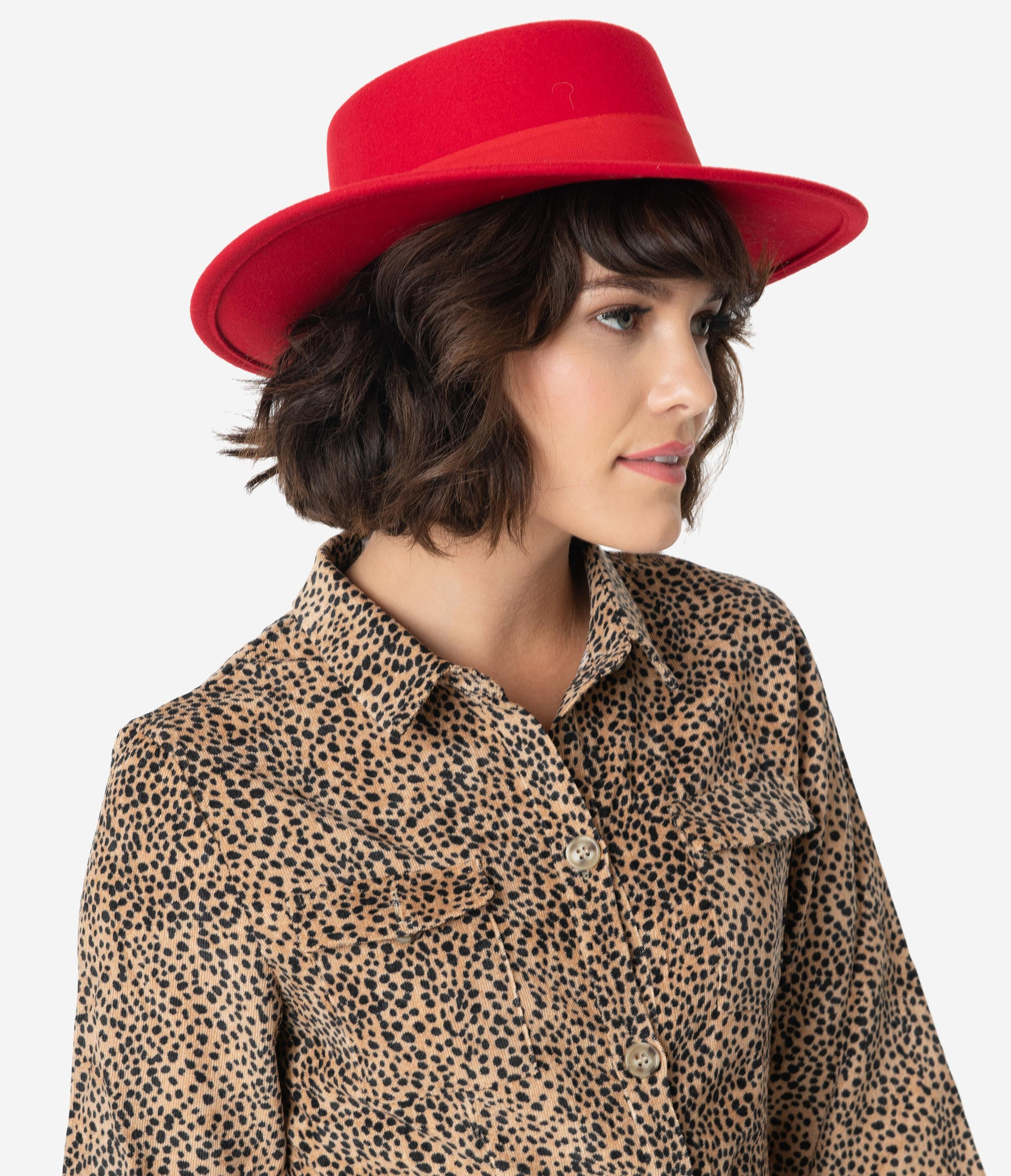 1950s Women's Hat Styles & History Red Wool Felt Bolero Hat $42.00 AT vintagedancer.com