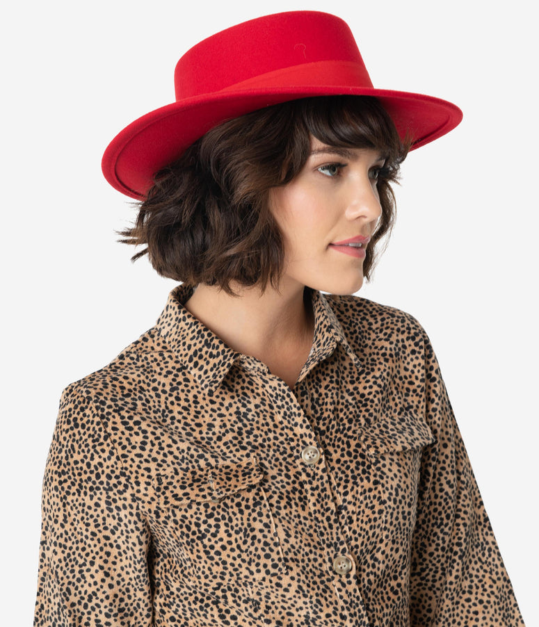 Red Wool Felt Bolero Hat