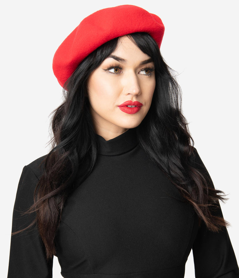 Retro Style Red Wool Beret
