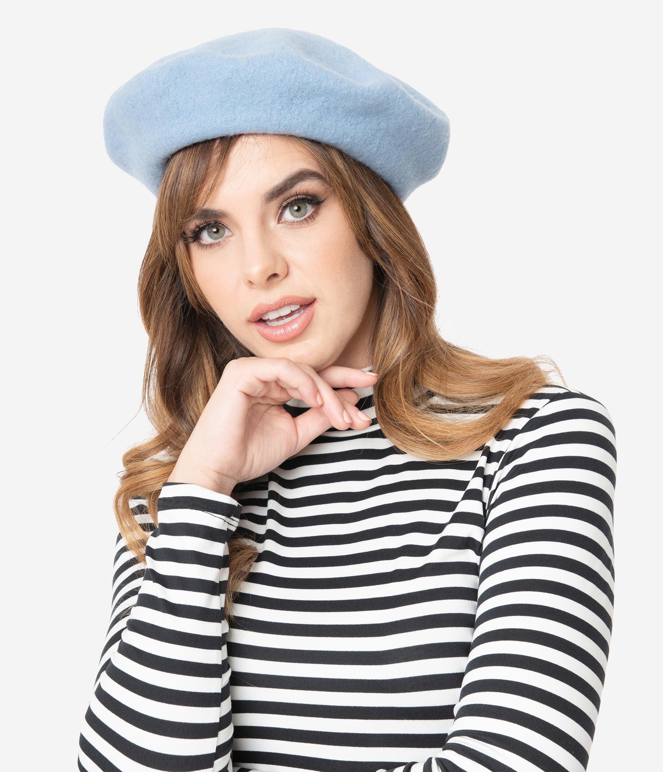 1950s Women's Hat Styles & History Retro Style Sky Blue Wool Beret $18.00 AT vintagedancer.com