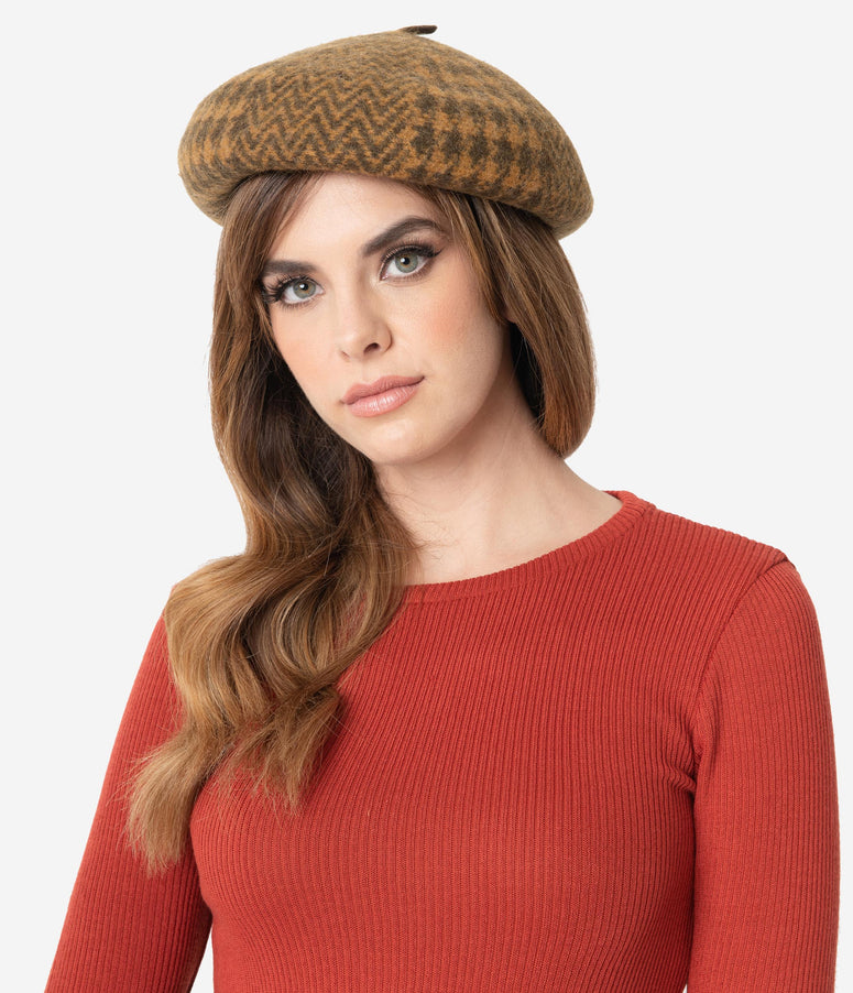 Retro Style Brown Herringbone & Houndstooth Wool Beret