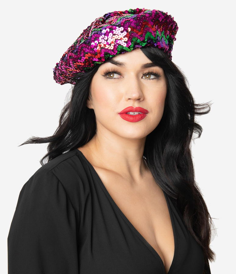 Multicolor Sequin Beret