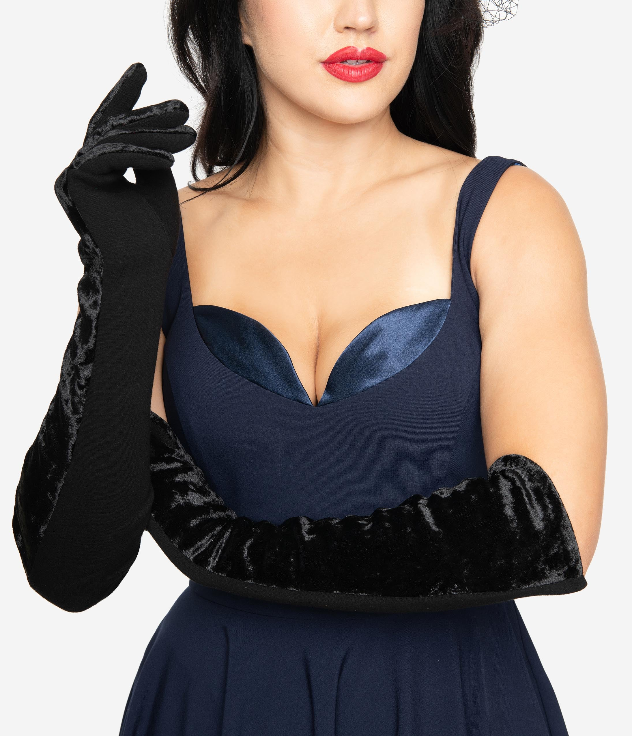 Vintage Style Gloves- Long, Wrist, Evening, Day, Leather, Lace Vintage Style Black Velvet Opera Gloves $24.00 AT vintagedancer.com