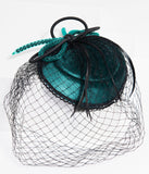 Vintage Style Green Velvet & Black Sinamay Fascinator