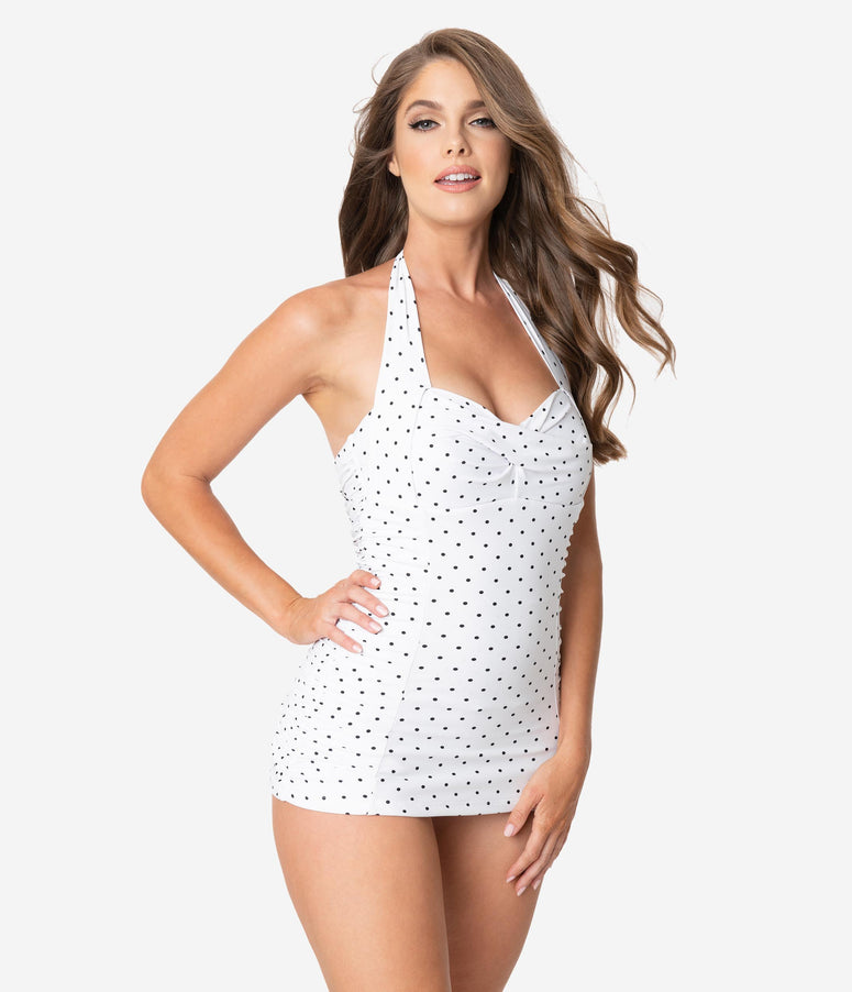 Unique Vintage White & Black Pin Dot Corinne Halter Sheath Swimsuit