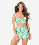 Unique Vintage 1950s Style Green & White Gingham Marlene Crop Swim Top