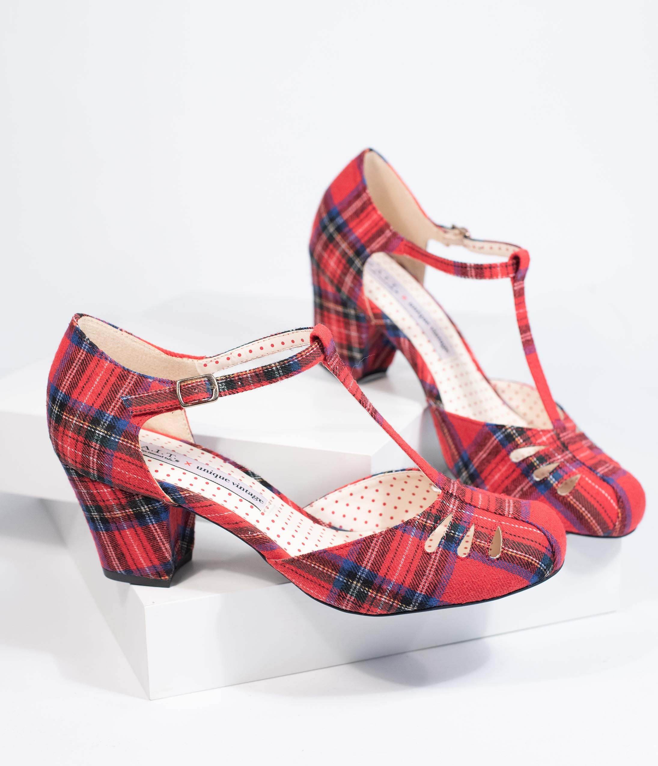 1950s Shoe Styles: Heels, Flats, Sandals, Saddles Shoes B.a.i.t. X Unique Vintage 1940S Red Plaid T-Strap Robbie Heels $69.00 AT vintagedancer.com