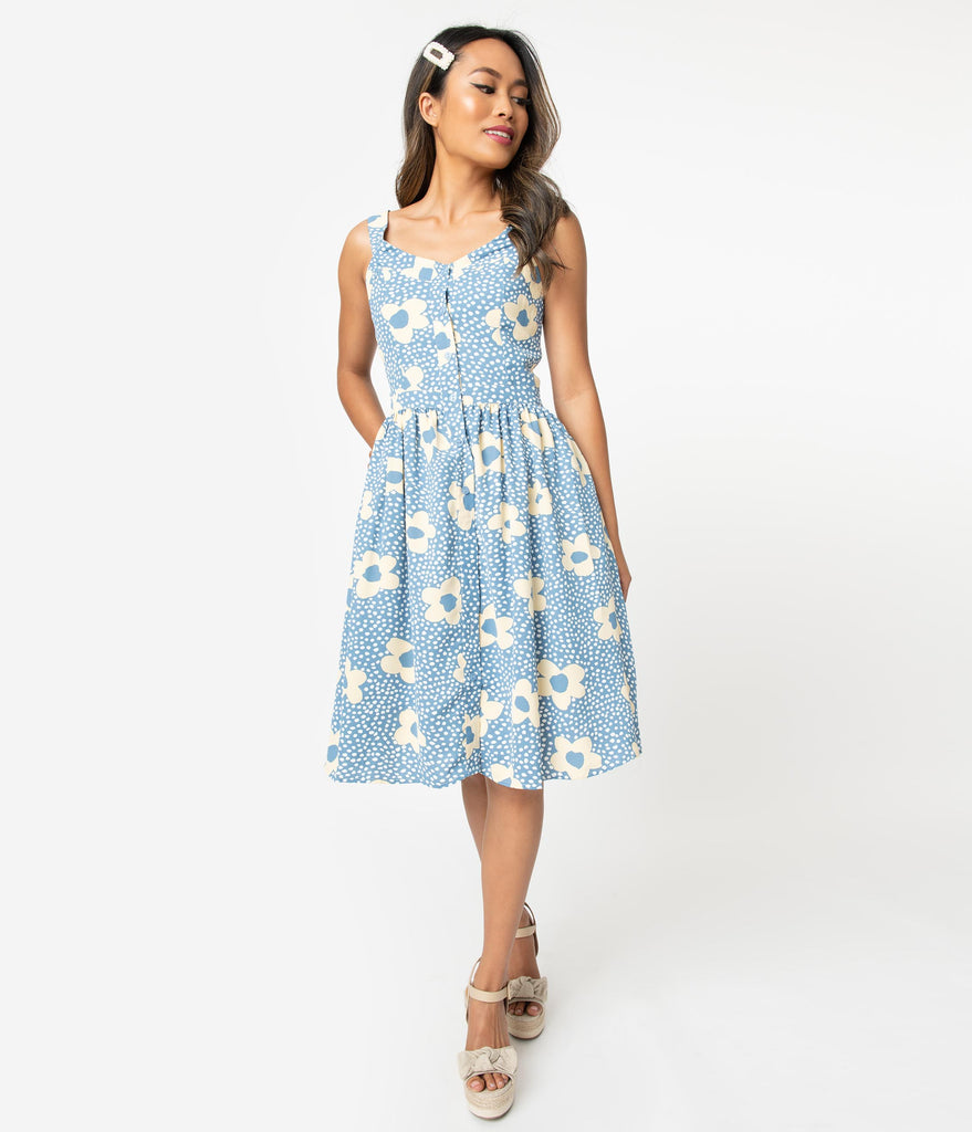 Dusty Blue & Ivory Dots Floral Print Button Up Swing Dress