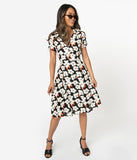 1950s Style Black & Ivory Floral Print Cotton Swing Dress