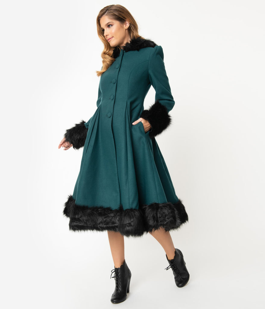 Hell Bunny Deep Green & Black Fur Button Up Hooded Elvira Coat