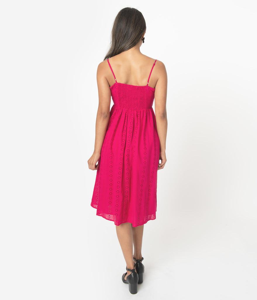 Retro Style Pink Cotton Eyelet Summer Dress