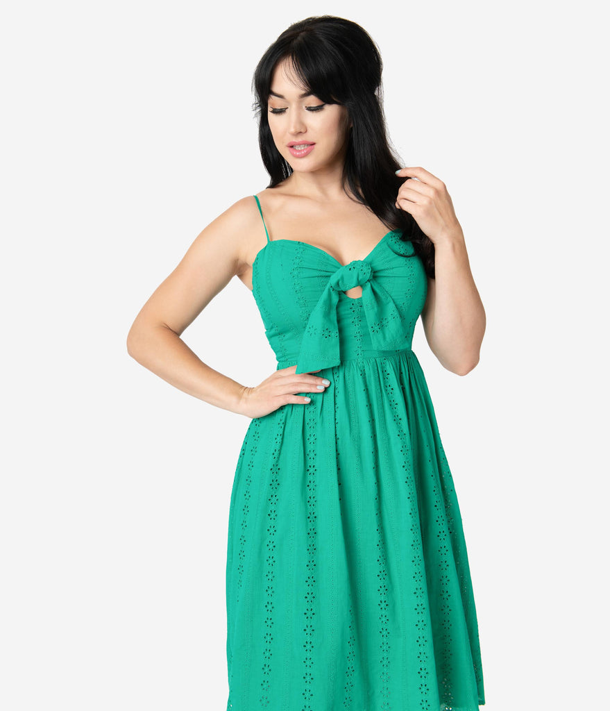 Retro Style Green Cotton Eyelet Summer Dress