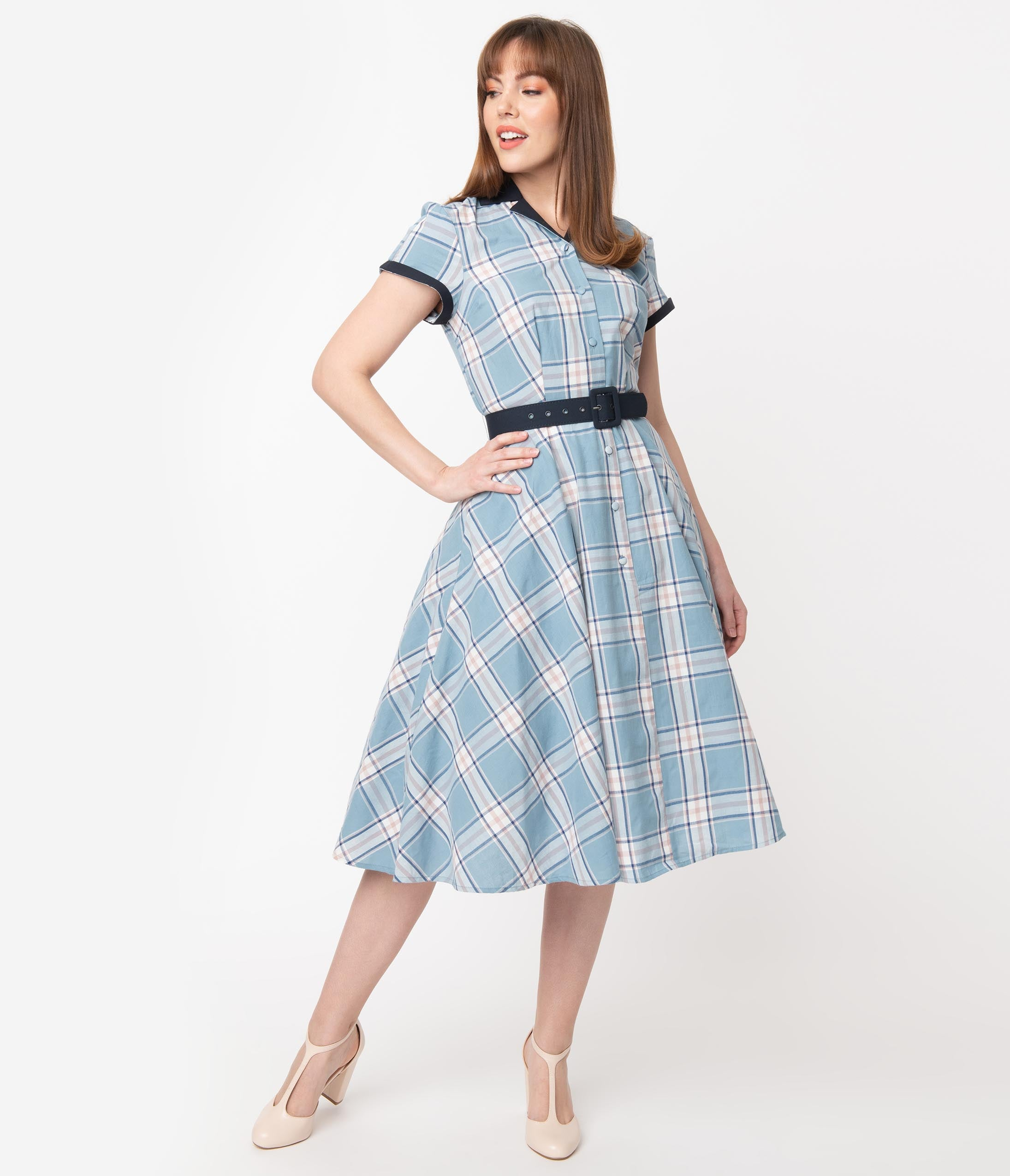 1950s Dresses, 50s Dresses | 1950s Style Dresses Unique Vintage 1950S Style Light Blue Plaid Alexis Swing Dress $88.00 AT vintagedancer.com
