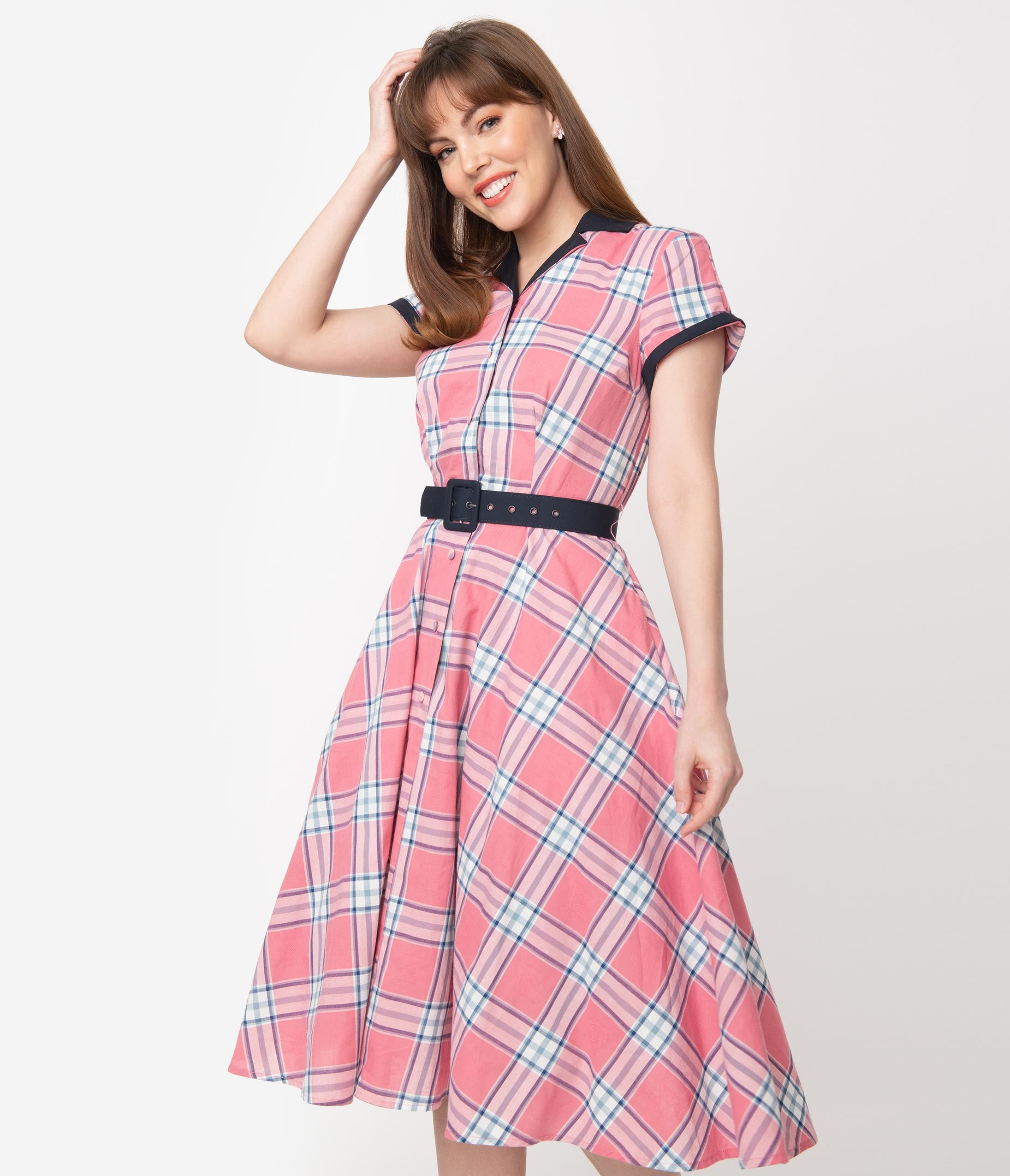 1950s Dresses, 50s Dresses | 1950s Style Dresses Unique Vintage 1950S Style Light Pink Plaid Alexis Swing Dress $88.00 AT vintagedancer.com