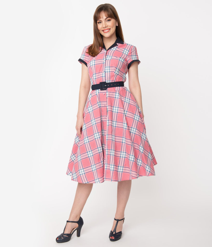 Unique Vintage 1950s Style Light Pink Plaid Alexis Swing Dress