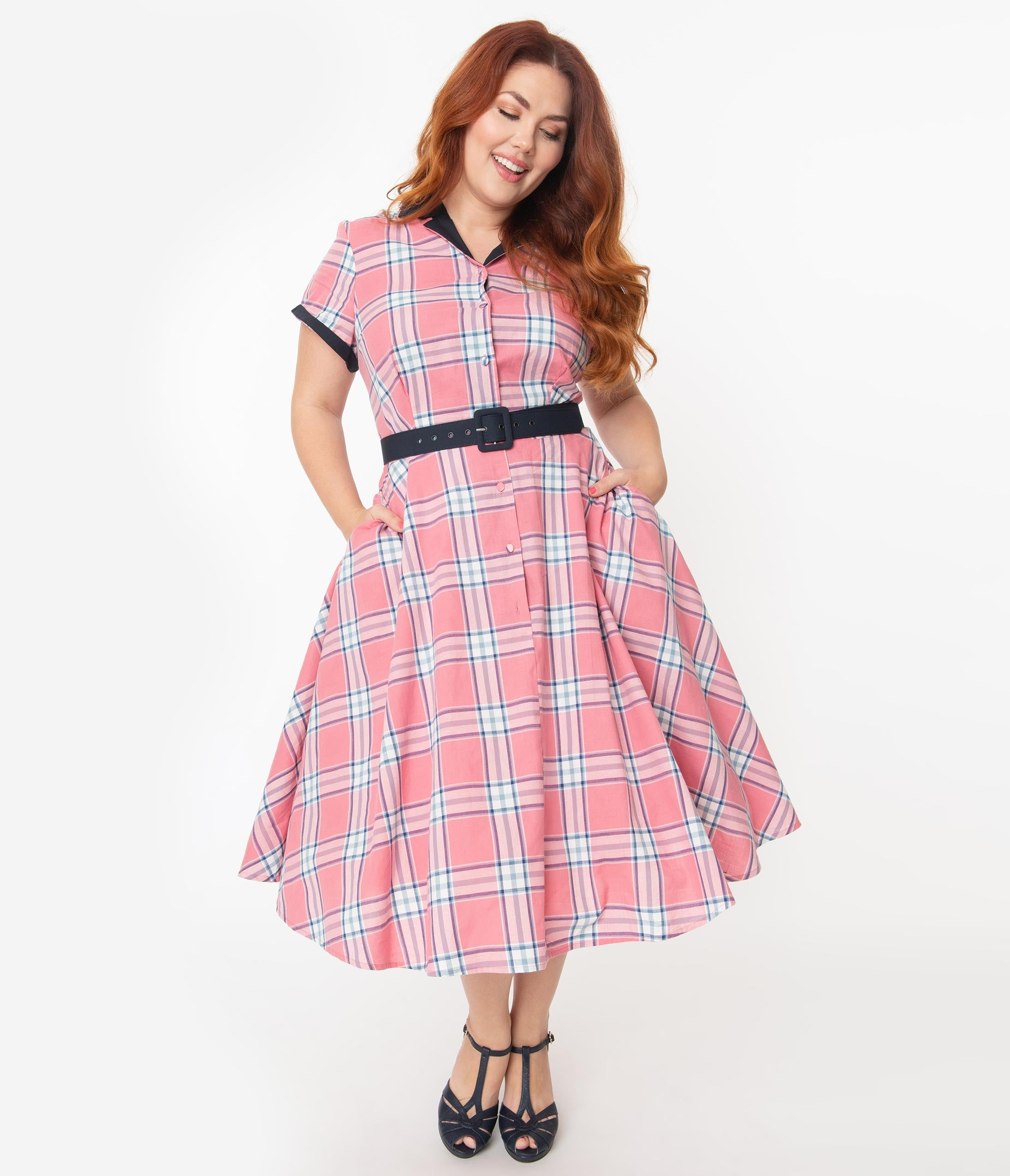 1950s Plus Size Dresses, Swing Dresses Unique Vintage Plus Size 1950S Style Light Pink Plaid Alexis Swing Dress $88.00 AT vintagedancer.com