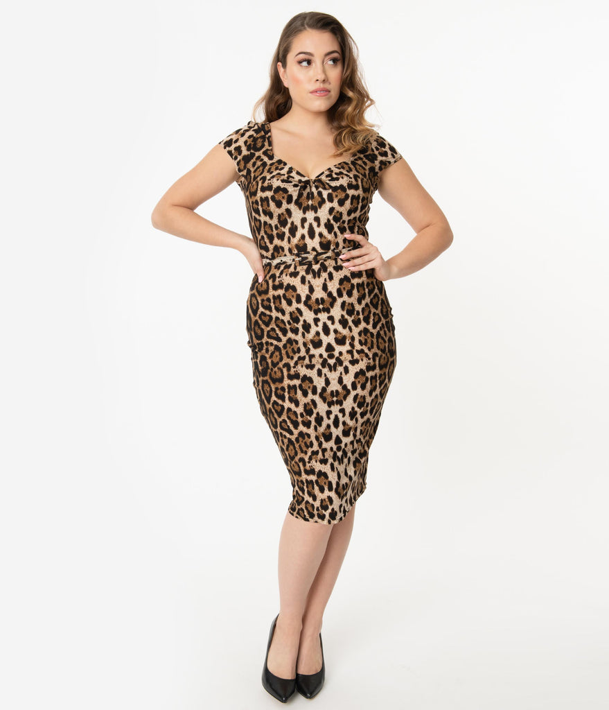 Unique Vintage 1950s Leopard Print Sweetheart Dianne Wiggle Dress