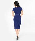 Unique Vintage 1950s Navy Sweetheart Dianne Wiggle Dress