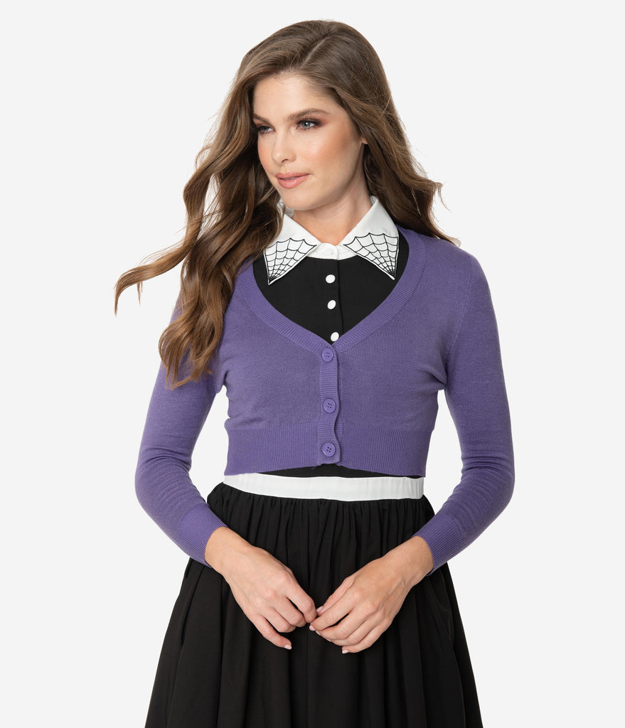 Blueberry Purple Three-Quarter Sleeve Button Up Crop Cardigan