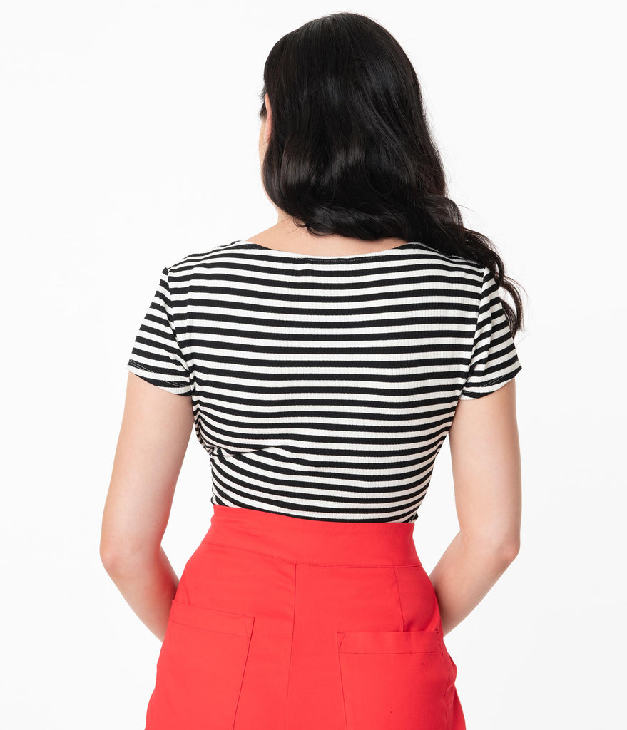 Unique Vintage 1950s Black & White Stripe Sweetheart Rosemary Top