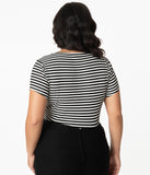 Unique Vintage Plus Size 1950s Black & White Stripe Sweetheart Rosemary Top