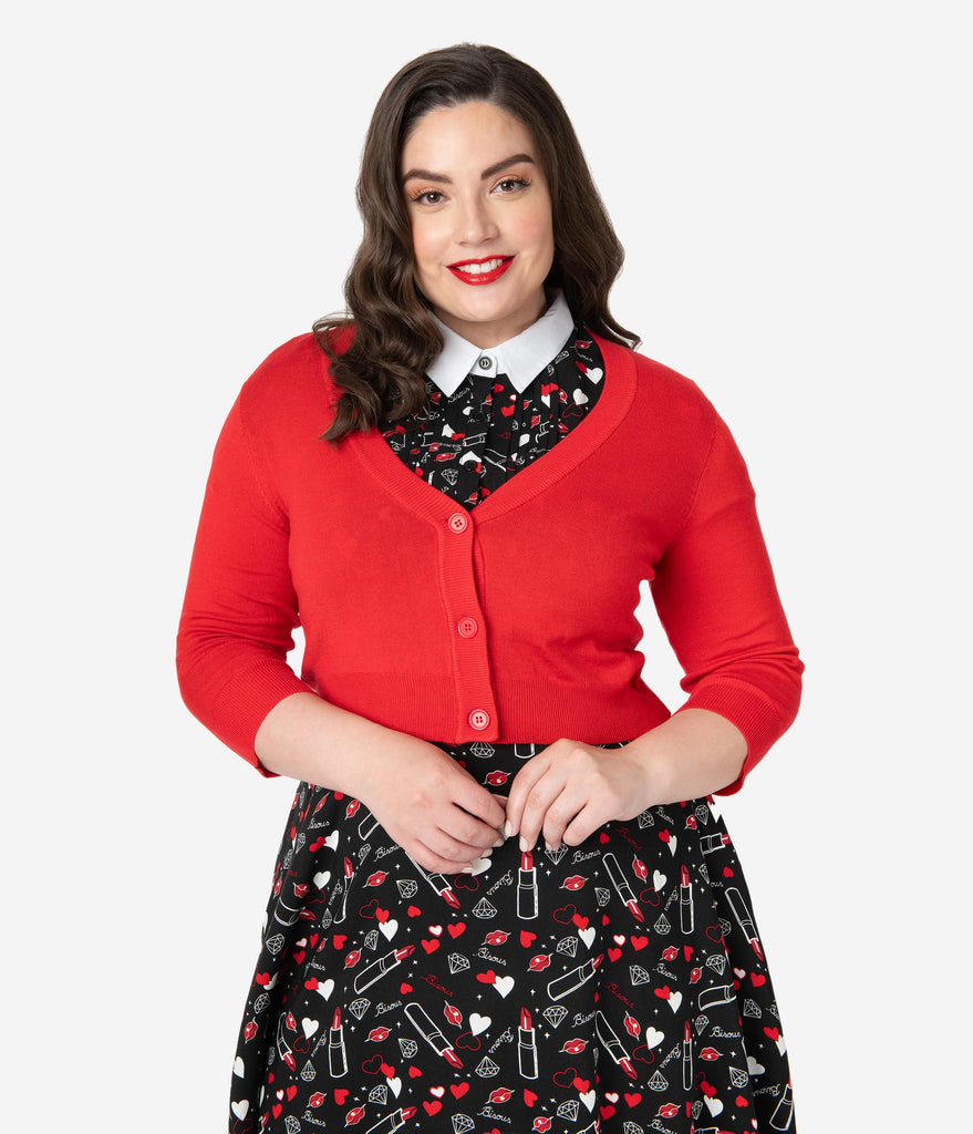 Plus Size Tomato Red Three-Quarter Sleeve Button Up Crop Cardigan